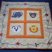 Handmade Animal themed Appliqued Cot Quilt, play mat or picnic blanket quilt