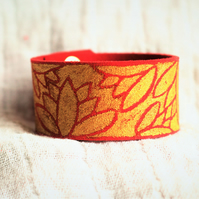 Hand Painted Gold Lotus Suede Cuff