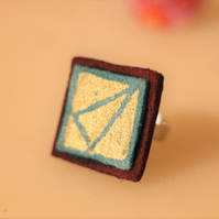 Leather and Suede Gold hand painted ring