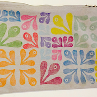 Large Hand printed Cotton bag - Free postage