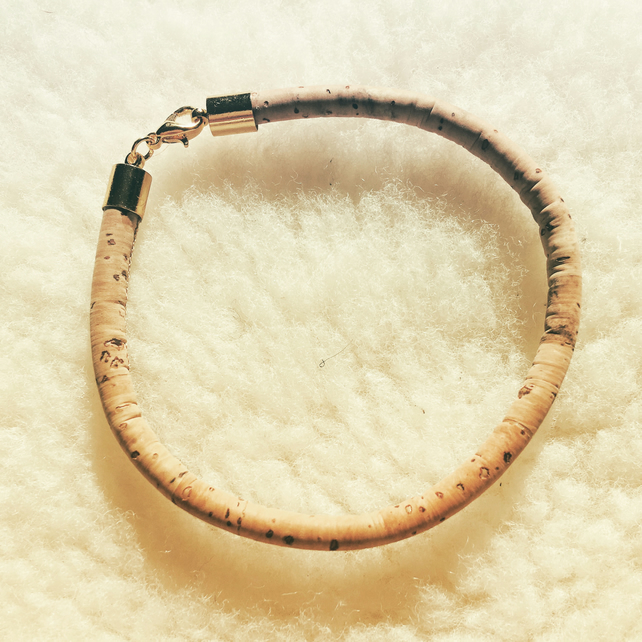 Handmade cork cord bangle