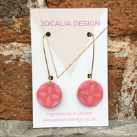 Hand painted leather coral and pink drop earrings