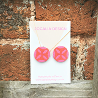 Hand painted coral and pink leather stud earrings