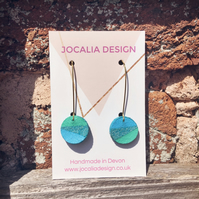Hand painted blue and turquoise asymmetric leather drop earrings