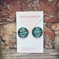 Hand painted black teal and copper leather stud earrings