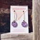 Hand painted purple abstract leather drop earrings