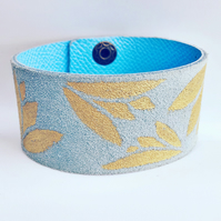 Hand painted leather Lotus design cuff