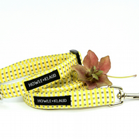 Yellow Striped Dog Lead - Hadmade Fabric Leash