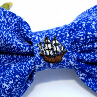 Large Embroidered Dog Bowtie with Mini Ship - Blue Waves Fabric Dog Bowtie