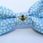 Small Embroidered Dog Bowtie with Mini Bee - Blue Polka Dott Fabric Dog Bowtie