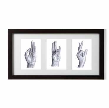 Yoga Mudra Hands -  Triple Framed Print