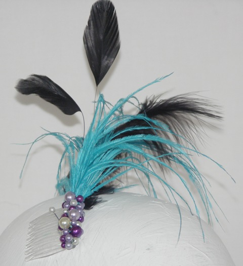 Blue and Black feather and bead hair comb,