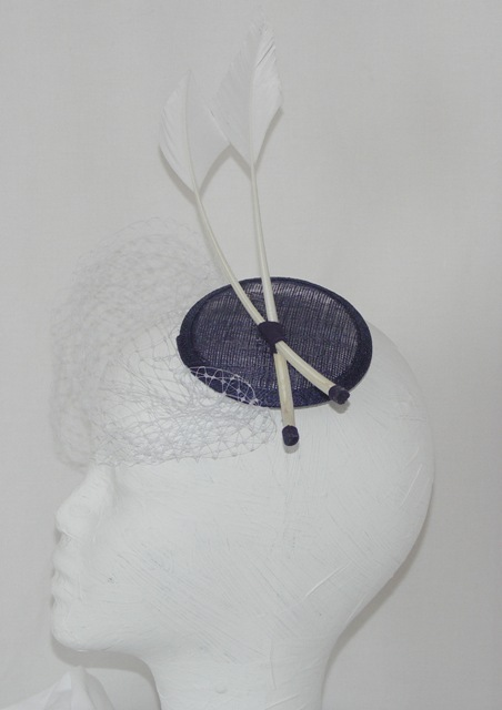 'Victoria' Fascinator, Navy with white trims.