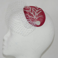 'Rebecca' Fascinator, Red teardrop with white trims.