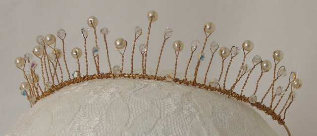 'Orla' Gold, pearl and crystal tiara