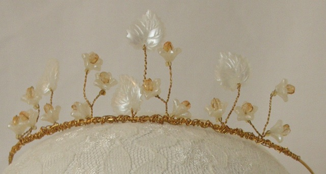 'Blossom' Gold, and faux pearl floral tiara