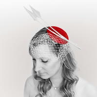 'Victoria' Fascinator, Red with white trims
