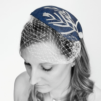 'Rebecca' Fascinator, Blue teardrop with white trims.