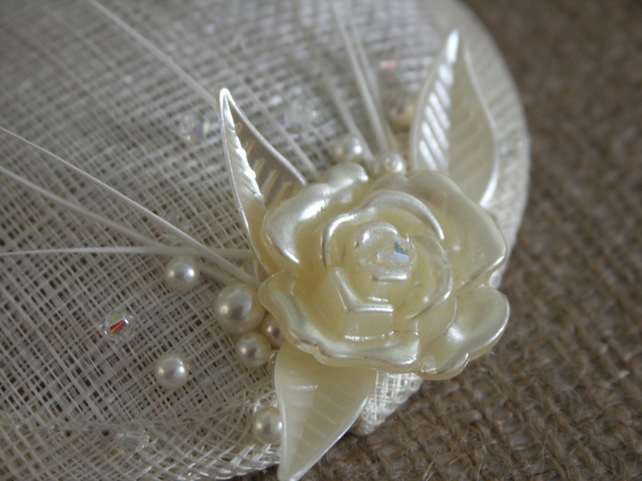 'Lauren' fascinator, Ivory beaded vintage-style.