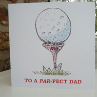Personalised Golf Ball Birthday Card