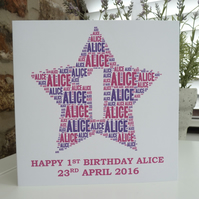 Personalised 1st Birthday Card (Girls)
