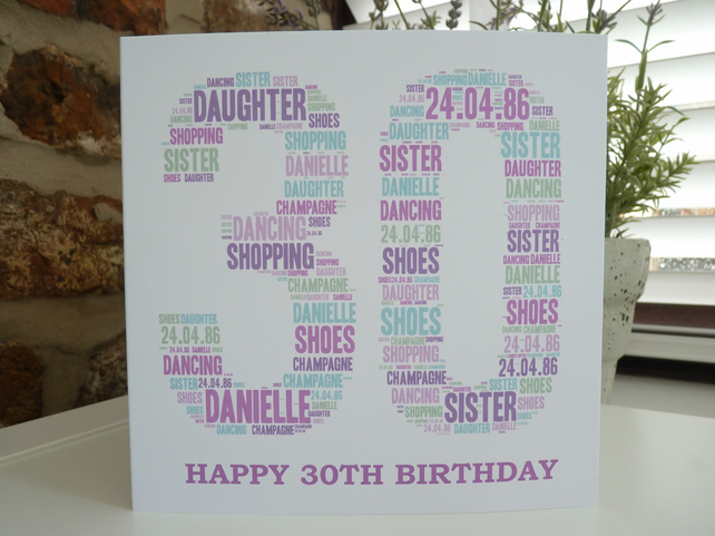 Personalised Special Age Card 30th, 40th, 50th, 60th, 70th etc