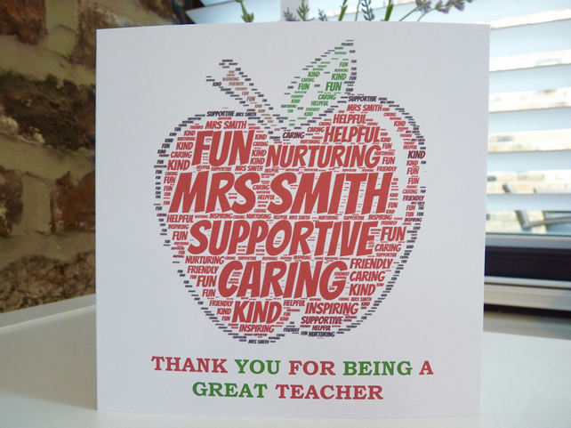 Personalise Apple for the Teacher Thank you Card