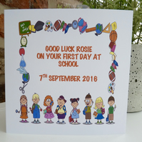 Personalised 1st Day at School Card