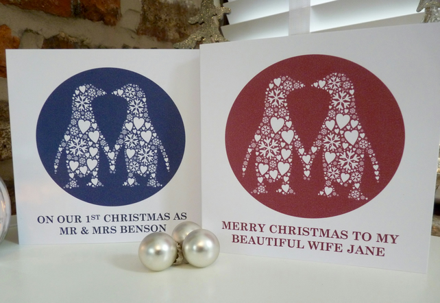 Personalised Kissing Penguins Christmas Card