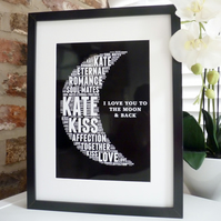 Personalised I love you to the moon & back print (A4)