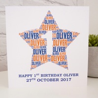 Personalised 1st Birthday Card (Boys)