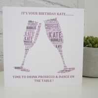 Personalised Prosecco,Champgagne Birthday Card