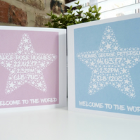 Personalised Welcome to the World Card, Personalised New Baby Card
