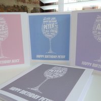 Personalised Wine Glass Card