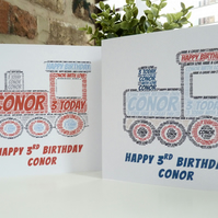 Personalised Train Birthday Card