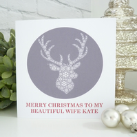 Personalised Stag Christmas Card