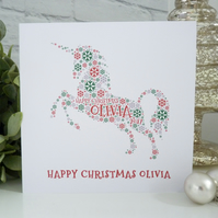 Personalised Unicorn Christmas Card