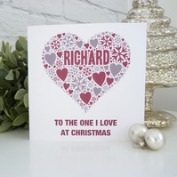 Personalised Love Heart Christmas Card