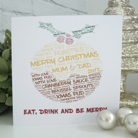 Personalised Christmas Pudding Card