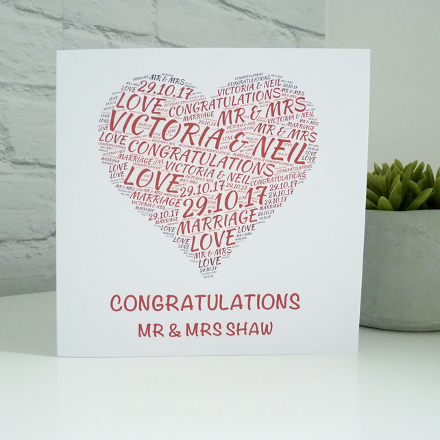 Personalised Love Heart Wedding Card