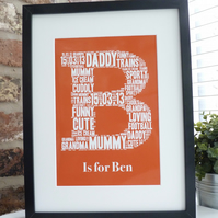 A4 Personalised Initial Print