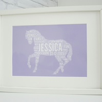 A4 Personalised Pony Print