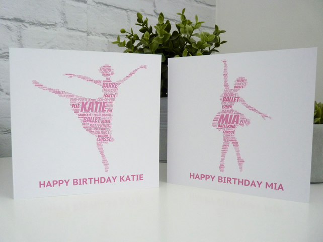 Personalised Ballerina Birthday Card