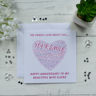 Personalised Things I love about you... Anniversary Card