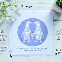 Personalised Kissing Penguins Card, Wedding, Engagement, Anniversary