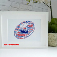 A4 PERSONALISED RUGBY BALL PRINT