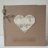 Wedding Card - Congratulations on your Wedding! Handmade using recycled paper