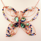 Butterfly statement necklace - copper wirework, abalone shell and gemstones.