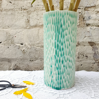 Large Sea Green Cylinder Vase
