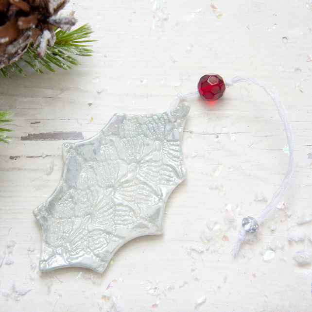 Christmas Mother of Pearl Holly Decoration
